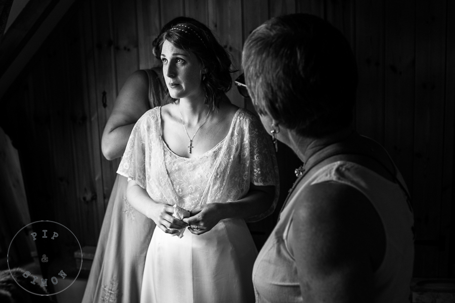 An emotional bride preparing for her ceremony