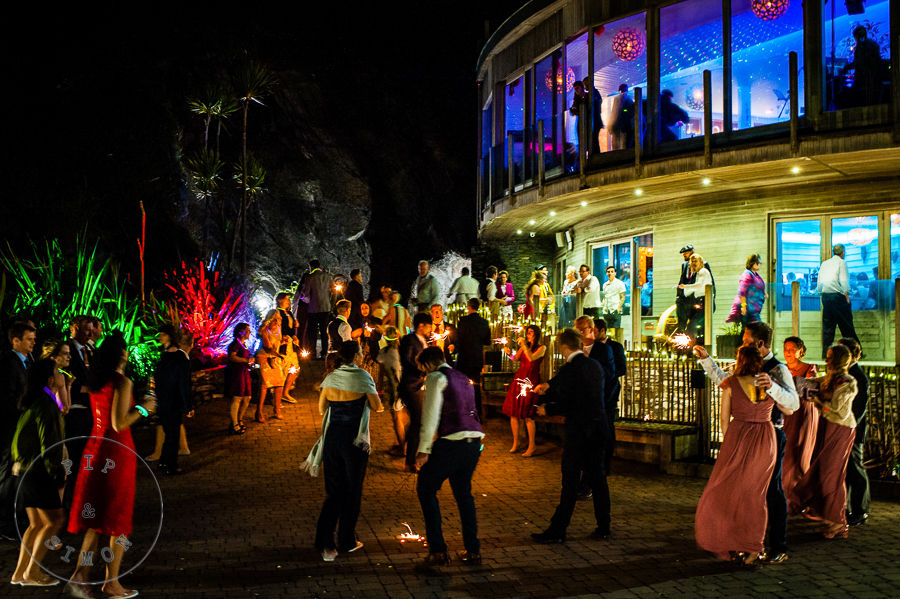 A lively party outside at wedding venue Tunnels Beaches