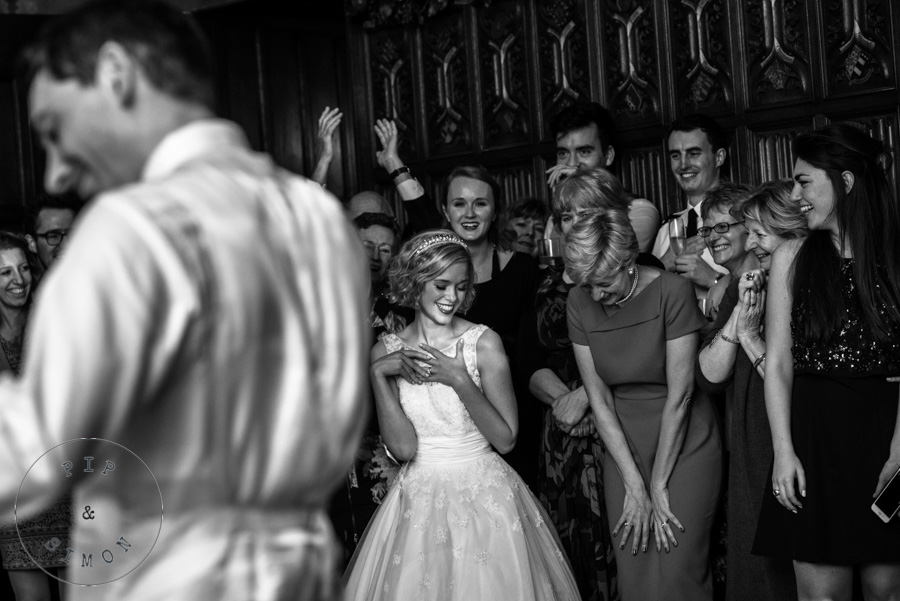 The beginning of a first dance at a wedding