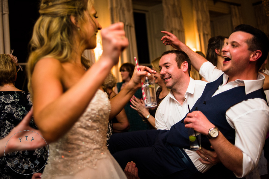A lively evening party at a Pynes House wedding