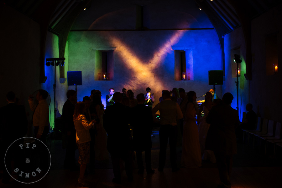 A party at a wedding at the Great Barn in Devon