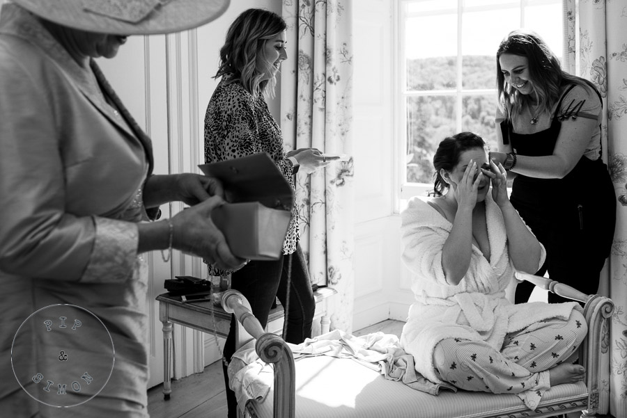 An emotional bride getting ready for her ceremony.