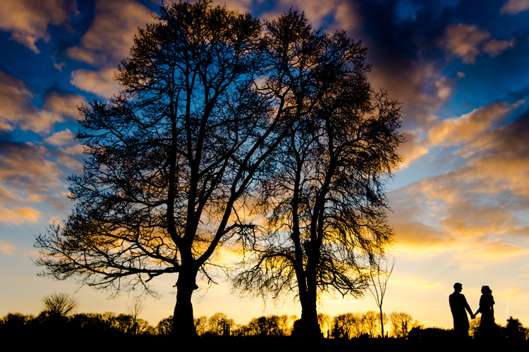Wedding couple with trees at sunset.