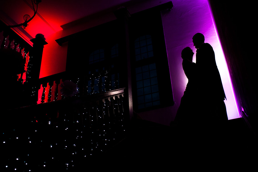 Silhouettes of Bride and Groom with bold colours.